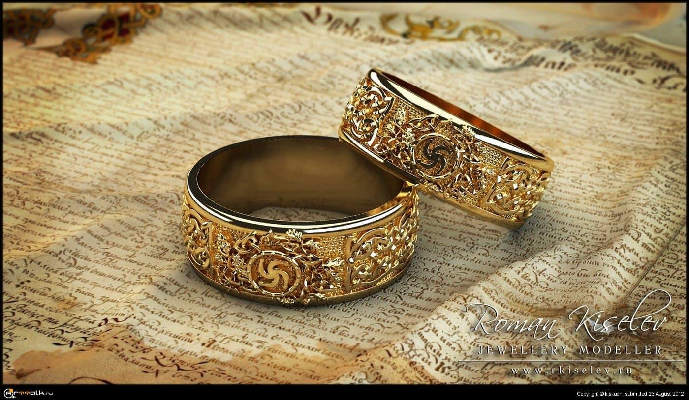 кольца со славянскими узорами