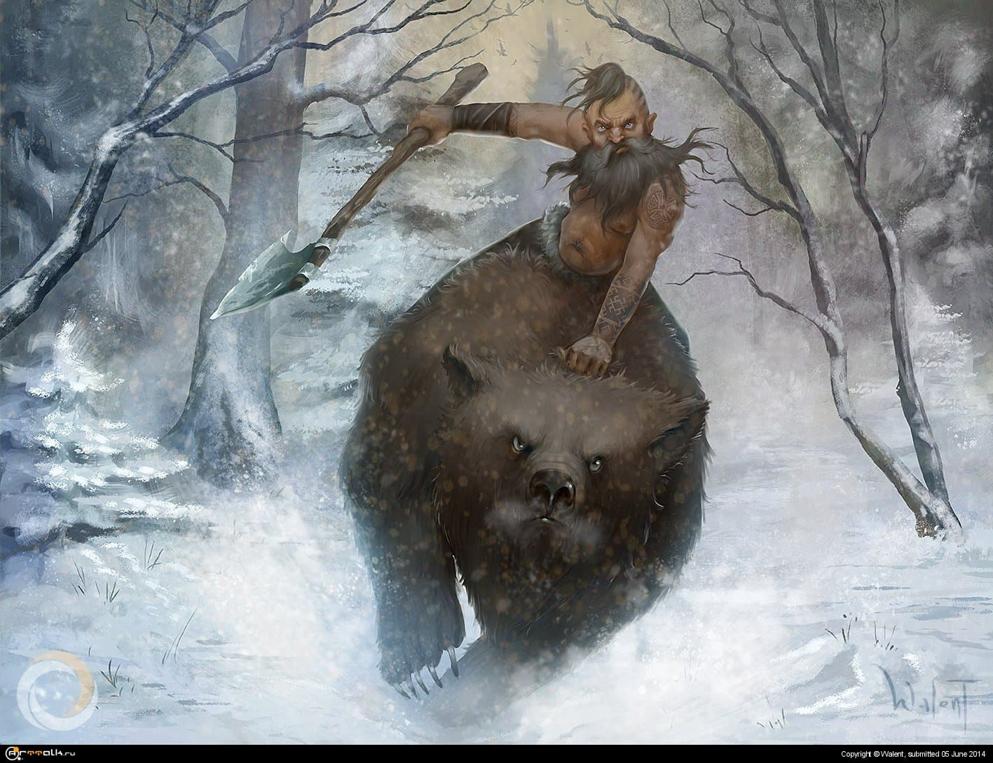 Северный варвар на ездовом медведе