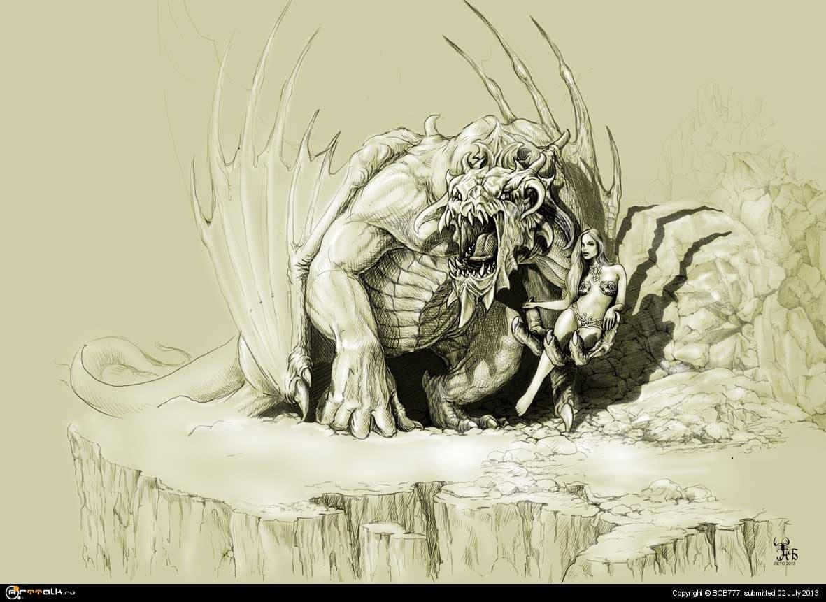 """Набросок из серии-""""Повелительница драконов"""""""