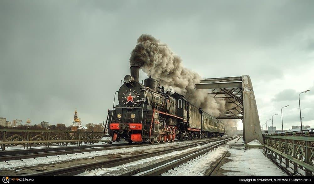 Steam Locomotive On The Bridge