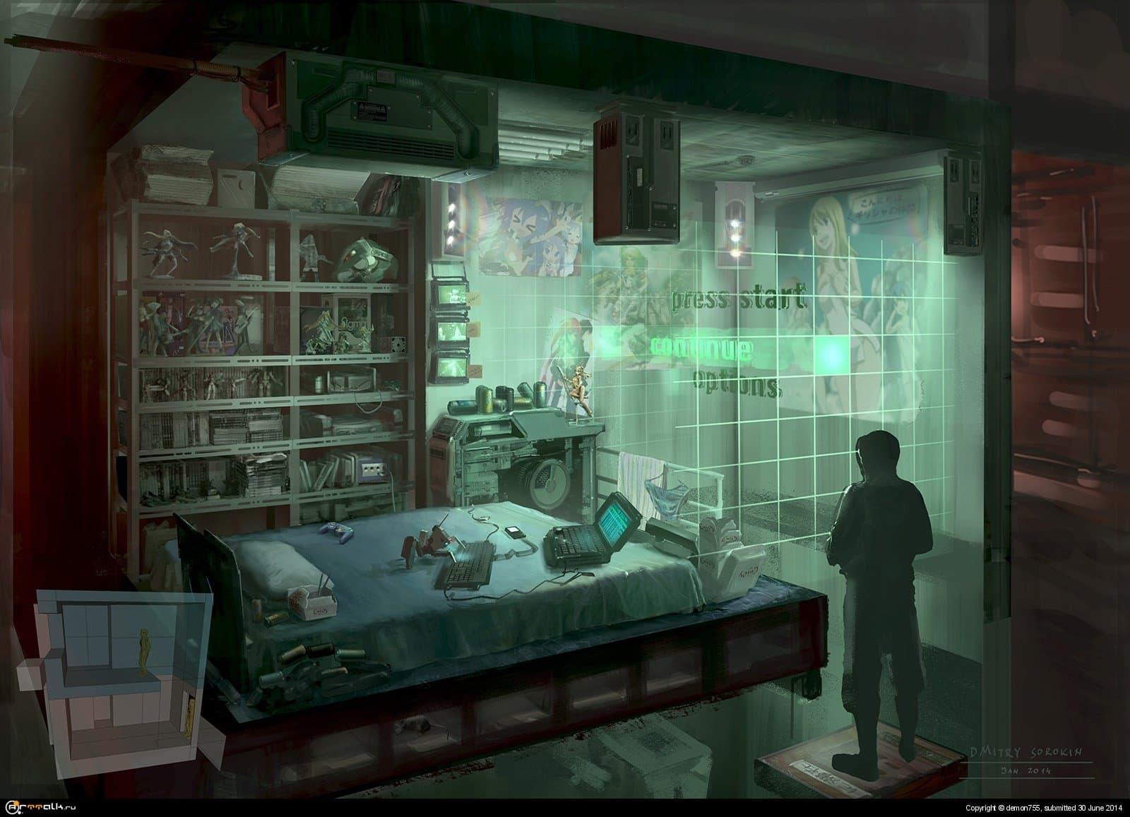 Cyberpunk. Otaku Place, Bedroom