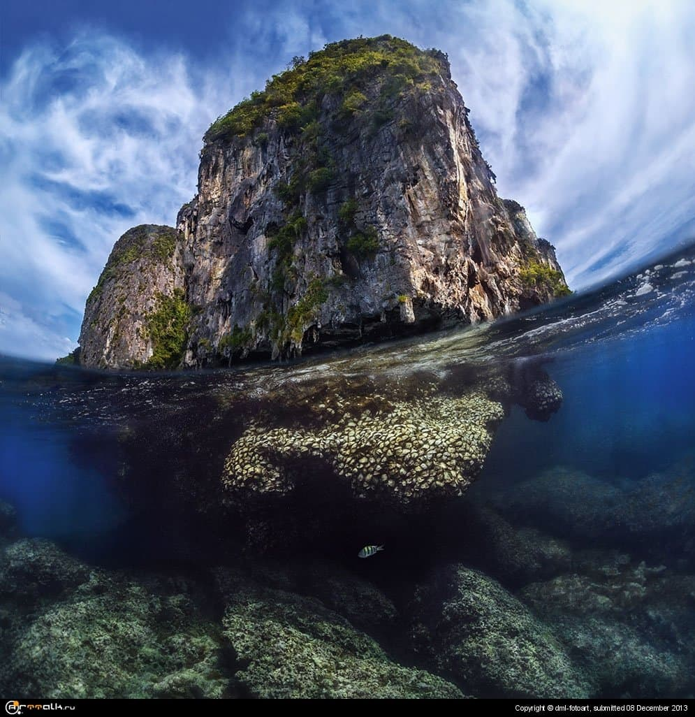 Thailand Lone Rock In The Andaman Sea