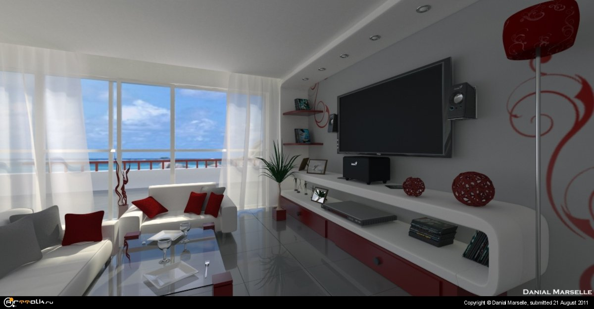 Интерьер гостинной комнаты в доме на лазурном берегу у самого моря.