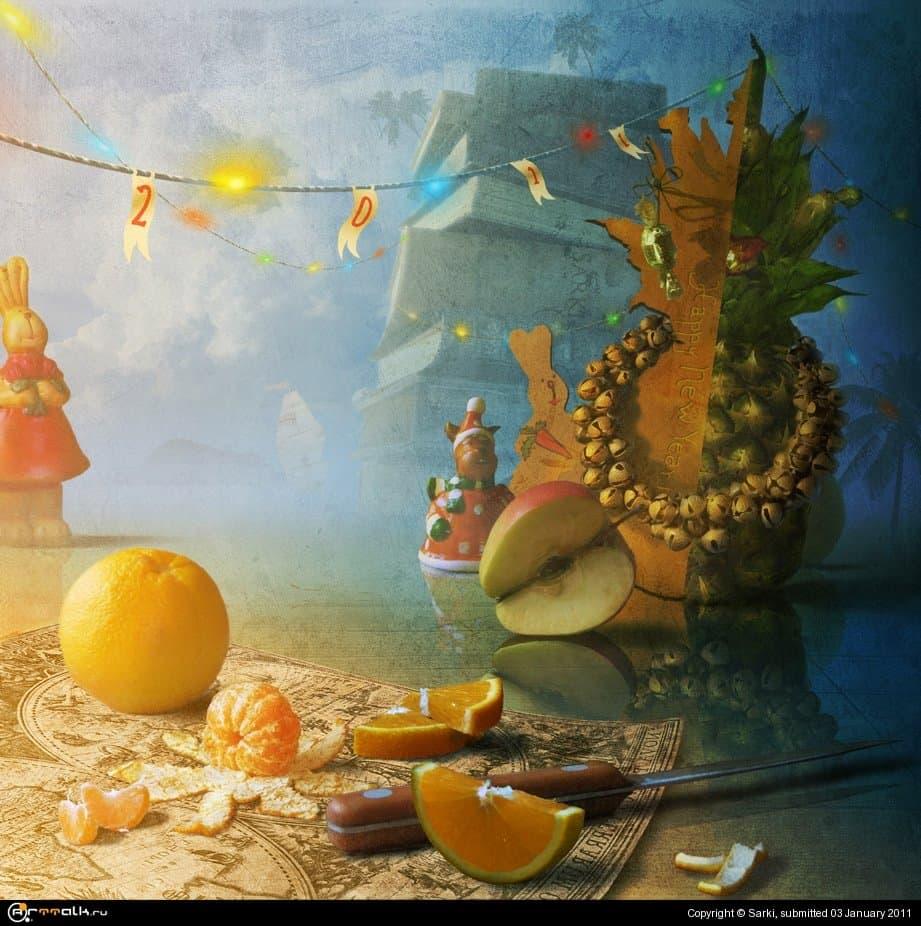 натюр с ананасом ...и с Новым годом!