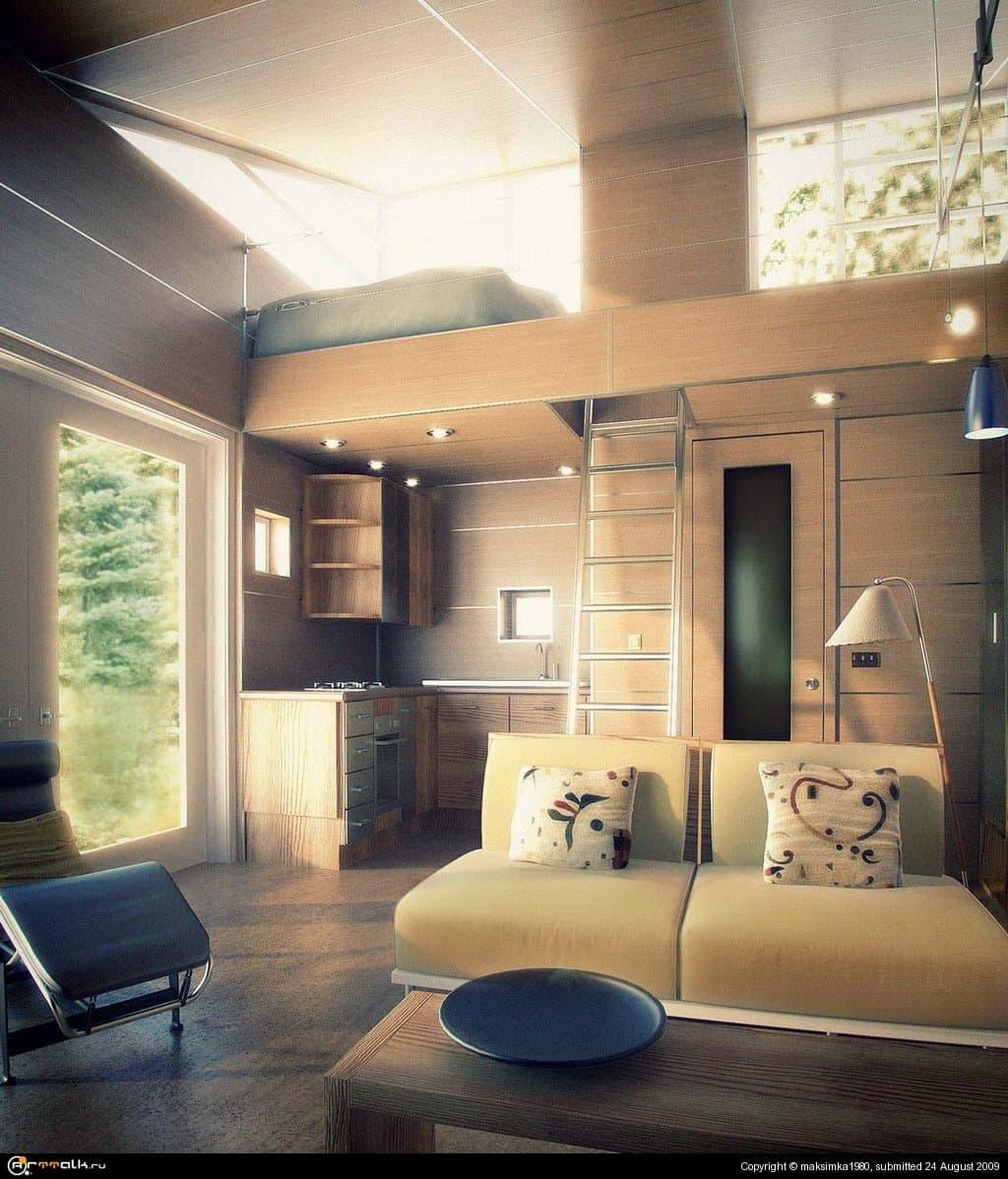 Интерьер гостиной в дачном домике.