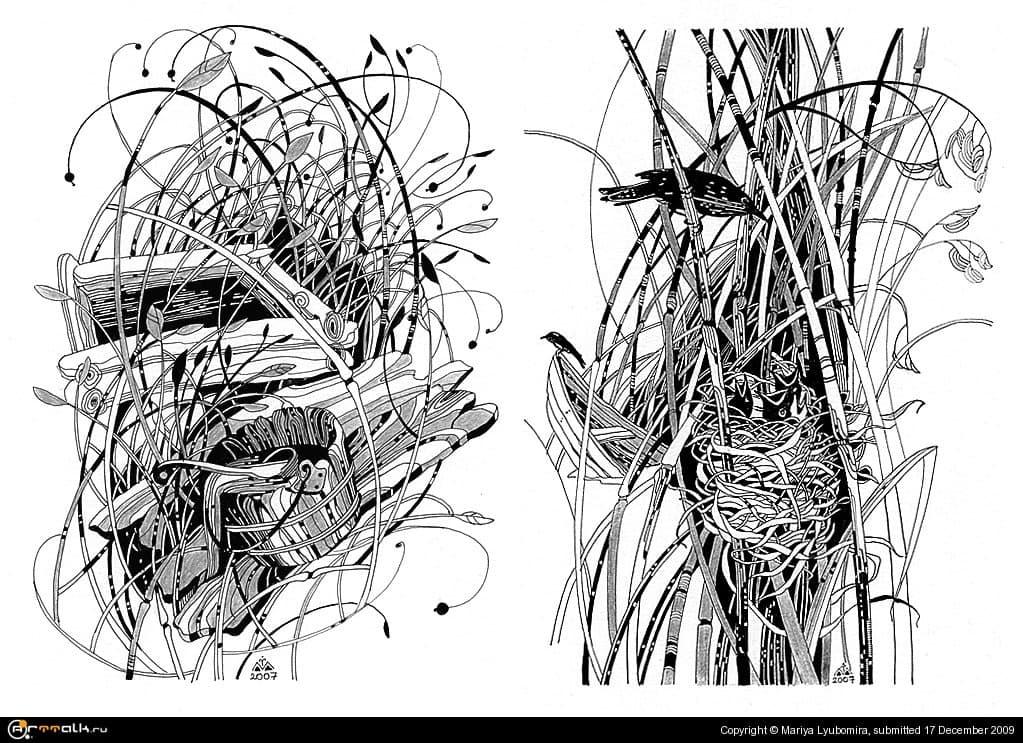 "Иллюстрации к книге Наталі Баклай ""Отава"" (разделы 6,2)"