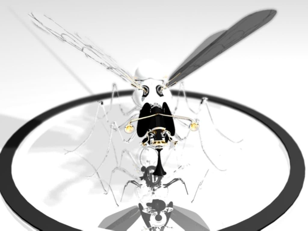Робот-стрекоза (вид спереди с пересветом)