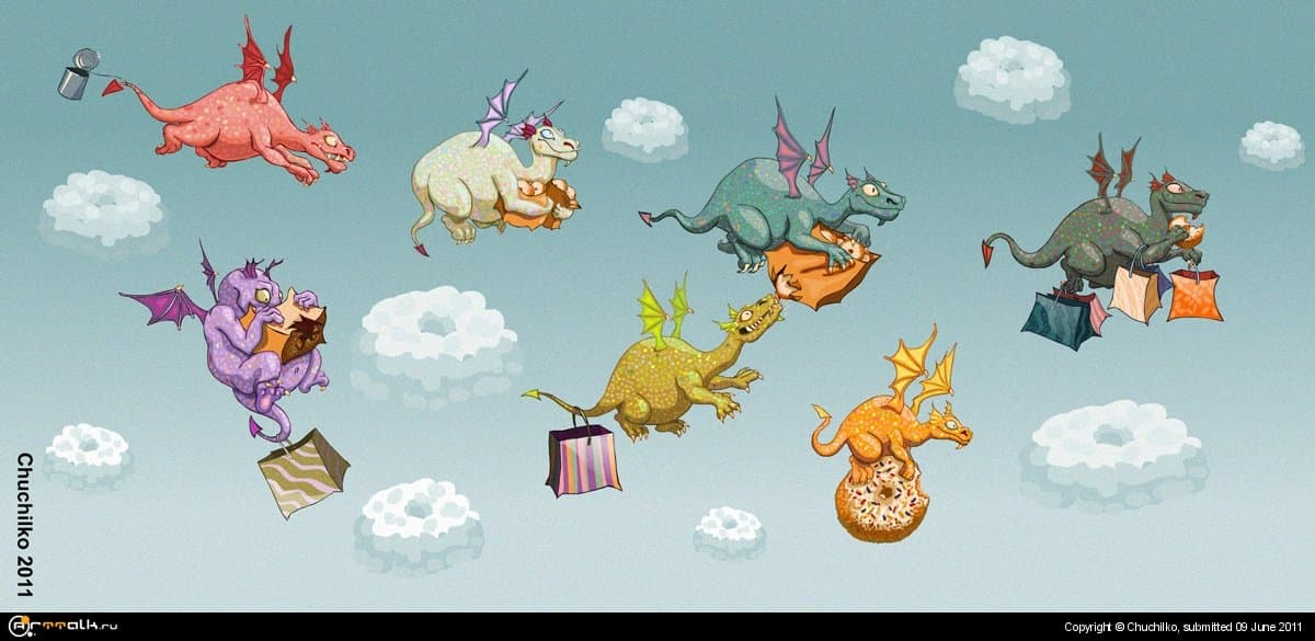 Летели дракончики, ели пончики!