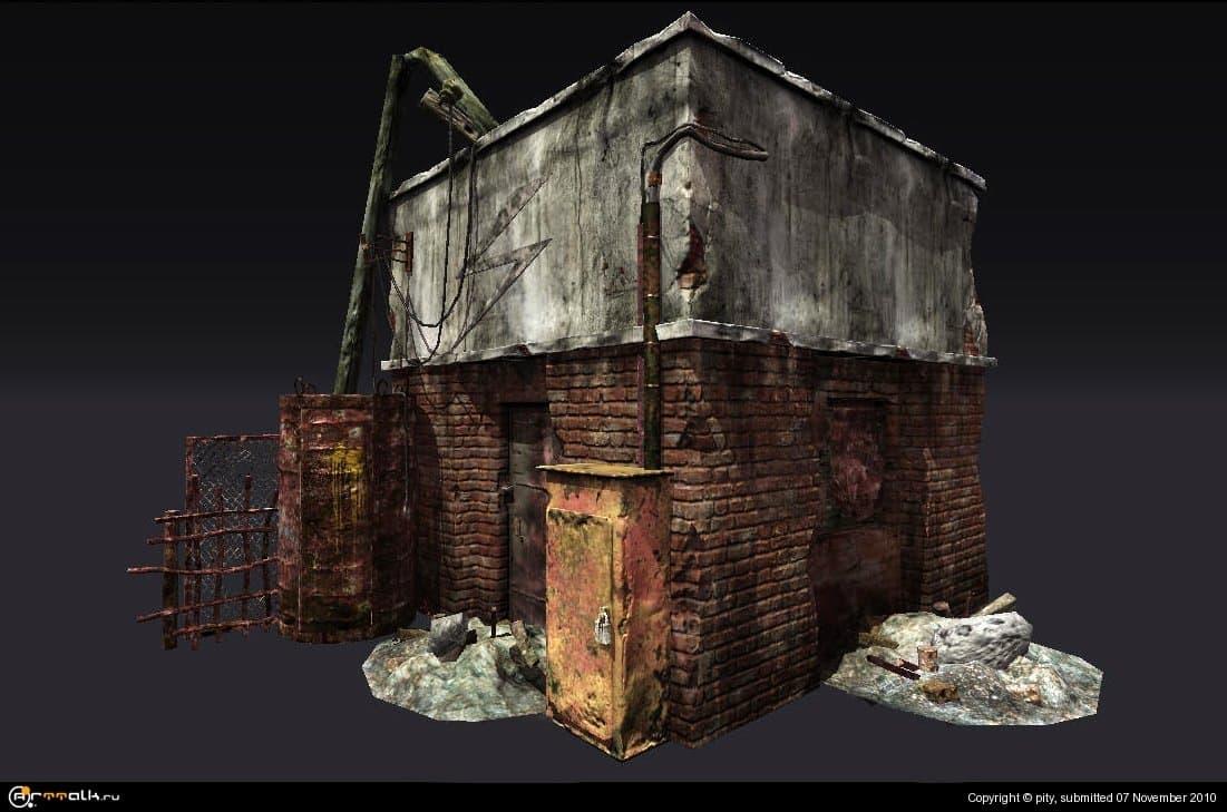 Сцена с разрушенным домом