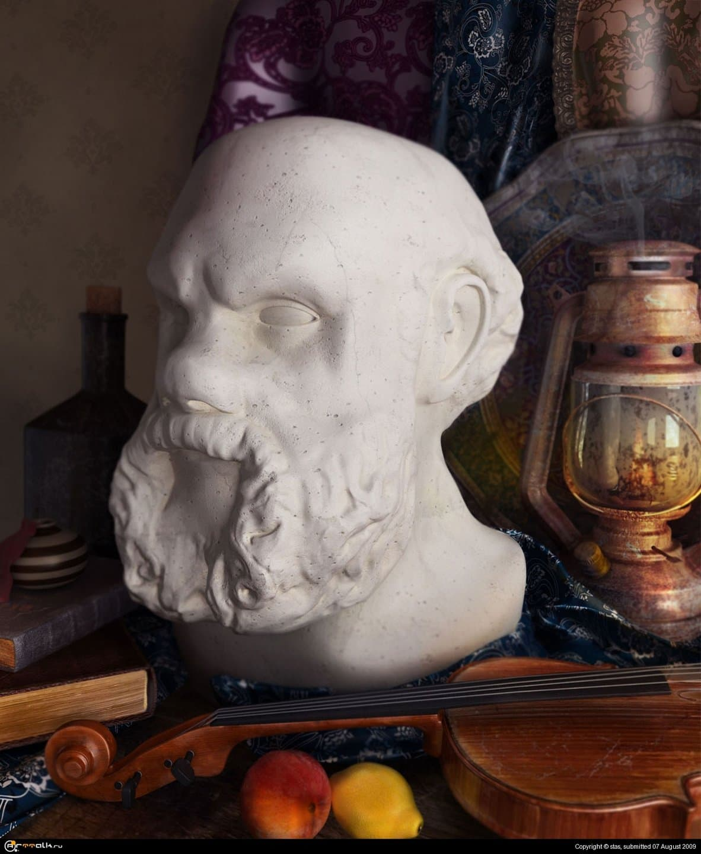 Натюрморт с головой Сократа.