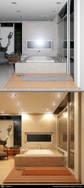 Ванная комната (ночное освещение Mental Ray)