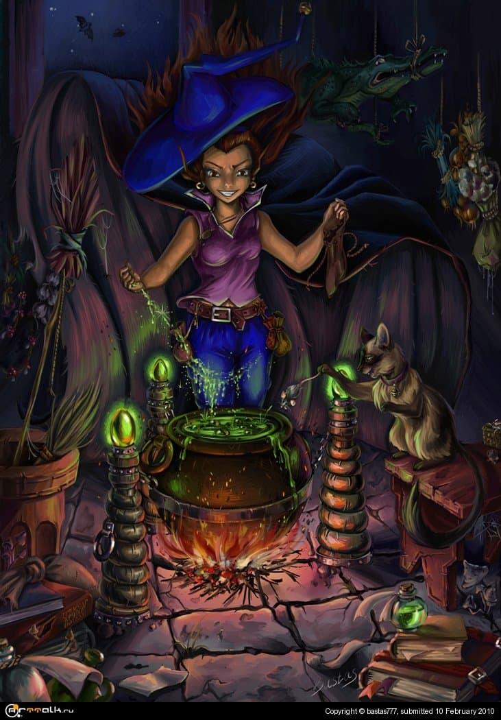 Ведьма с кошкой.