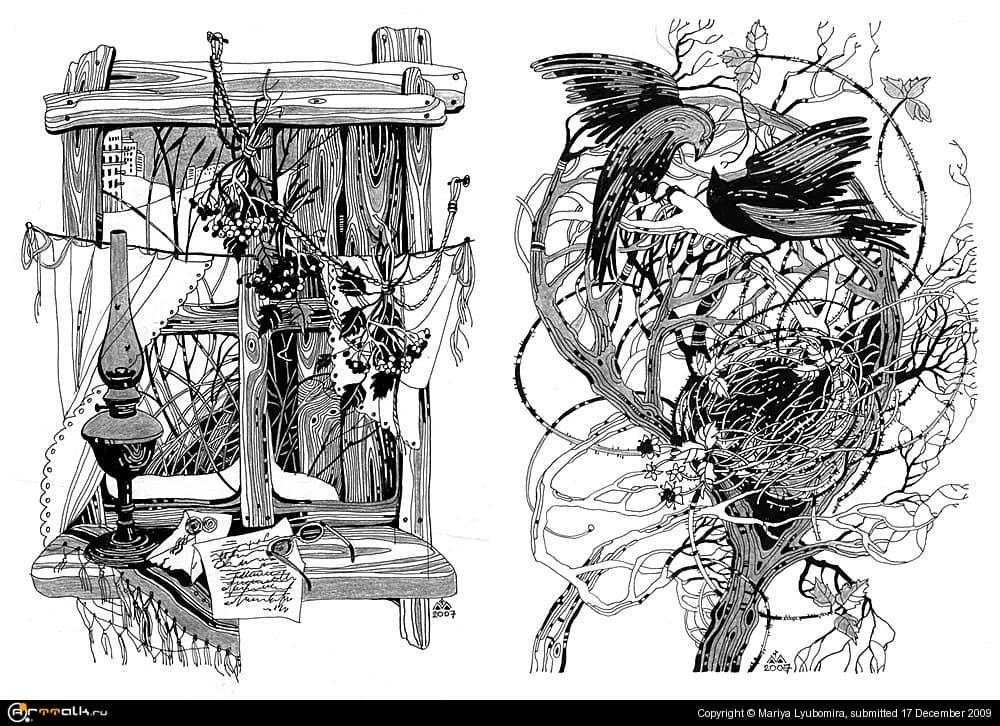 "Иллюстрации к книге Наталі Баклай ""Отава"" (разделы 1,5)"