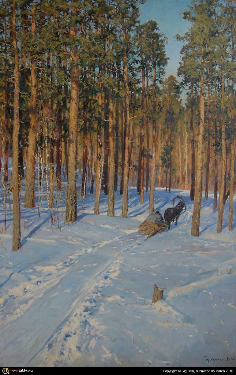 Зима. Дорога в лісі