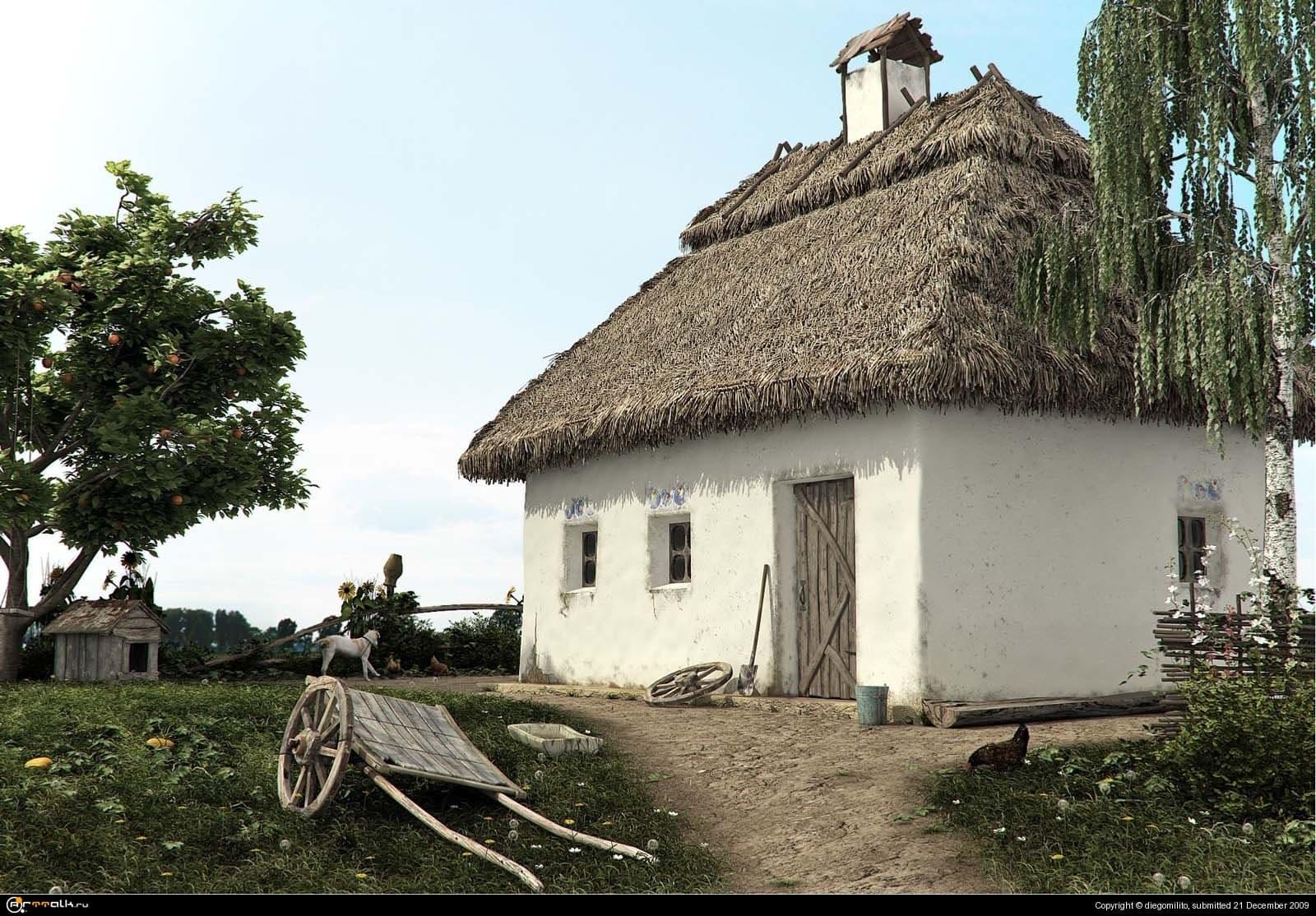 мазанка на краю села