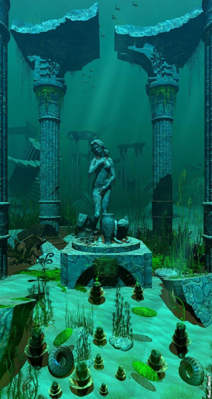 Руины подводного заброшенного храма