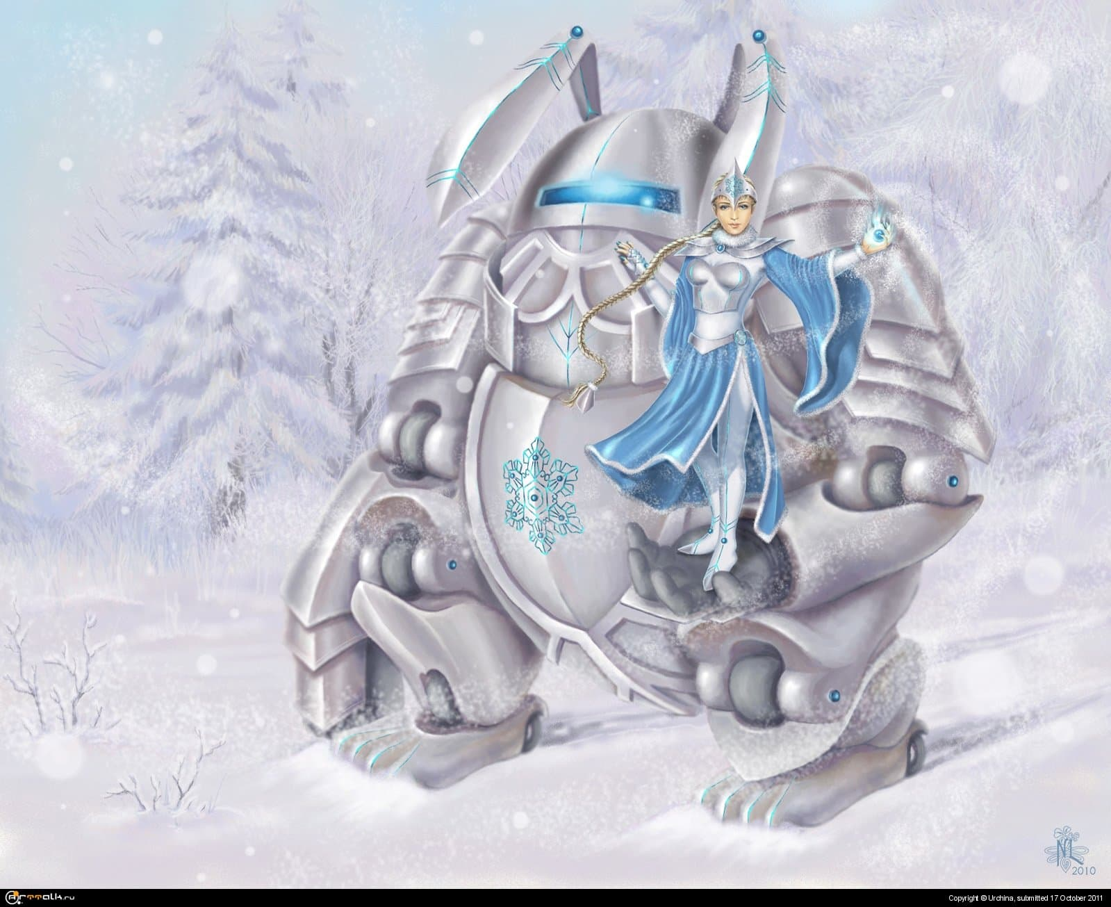 Cyber-snow Maiden And A Mobile Rabbit Armor