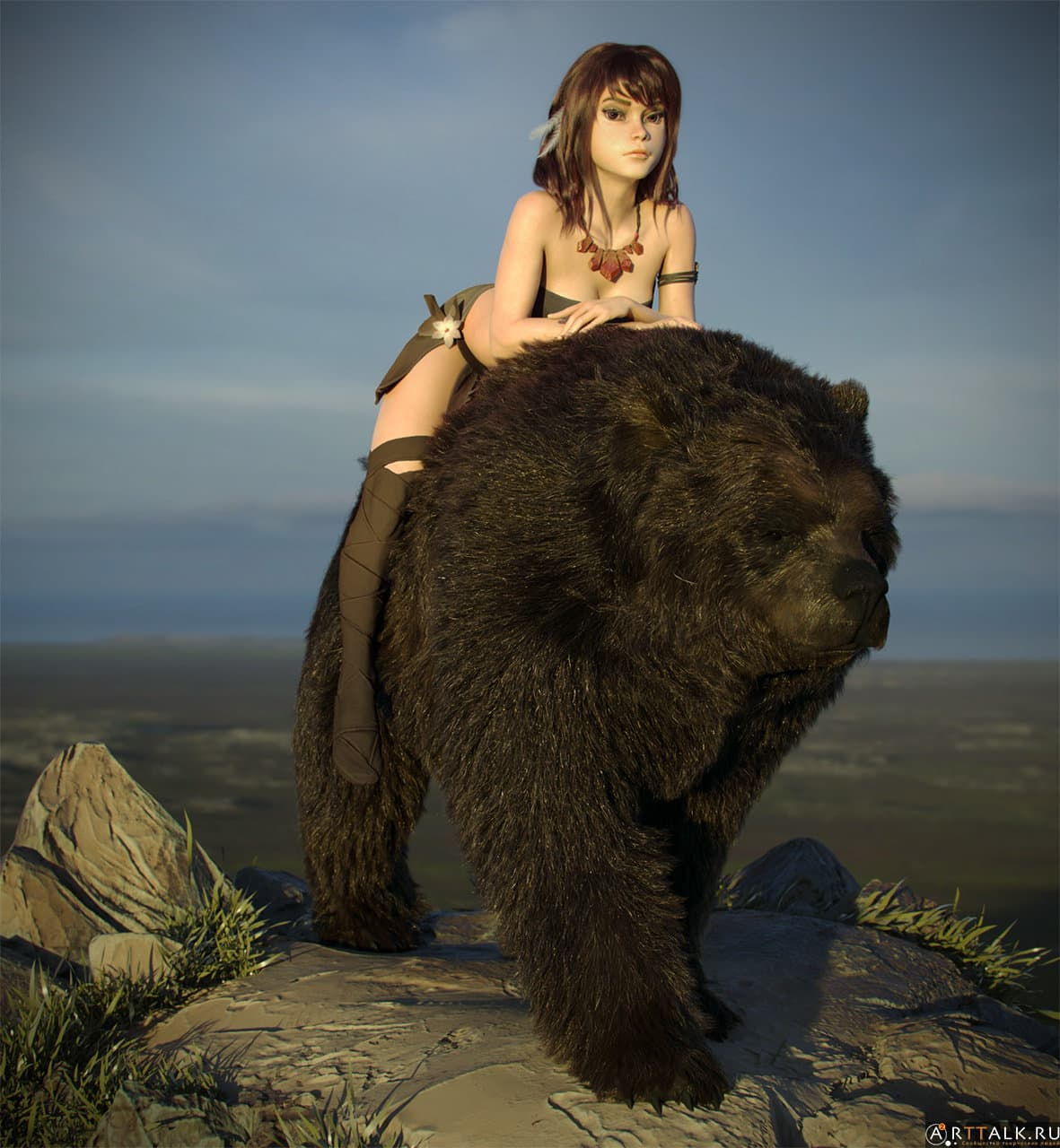 Hair&Fur&Feathers + Lookdev+Render&Lighting for Bear rider(collaboration with Maria Panfilova)
